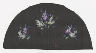 Black fan leaf painted with gouache showing three clusters of lilacs.