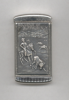 """Rectangular, curved top and bottom, featuring raised decoration of rancher on horse in open field with buffalo and mountains in background, rancher has roped a buffalo in foreground, above inscribed """"Souvenir of Buffalo, N.Y.""""; reverse features 2 adult and 1 baby deer in wooded area, with lake and mountains in background. Lid hinged on side. Striker on bottom."""
