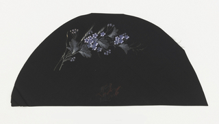 Black fan leaf painted with gouache showing a spray of purple flowers with leaves and buds.