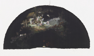 Black fan leaf painted with gouache showing a scene of birds in front of a cottage.
