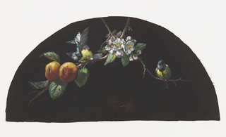 Black fan leaf painted with gouache showing two yellow-breasted birds on a flowering branch with two fruits at left.