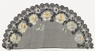 Fan leaf. Black net with scalloped black lace applied at edge, painted with gouache showing a border of yellow roses.
