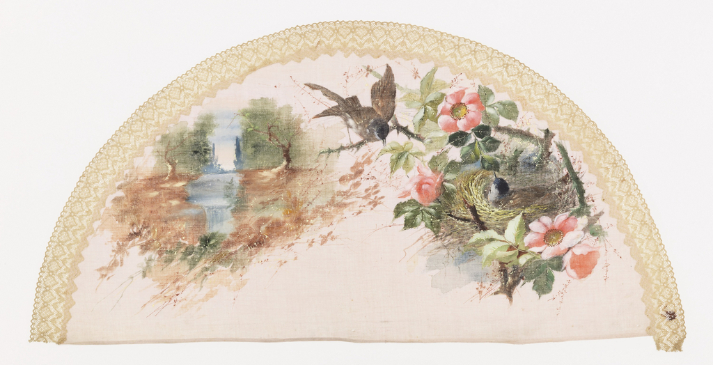White fan leaf painted with gouache showing a landscape at left and a bird in a nest at right, applied with cream-colored lace along edge.