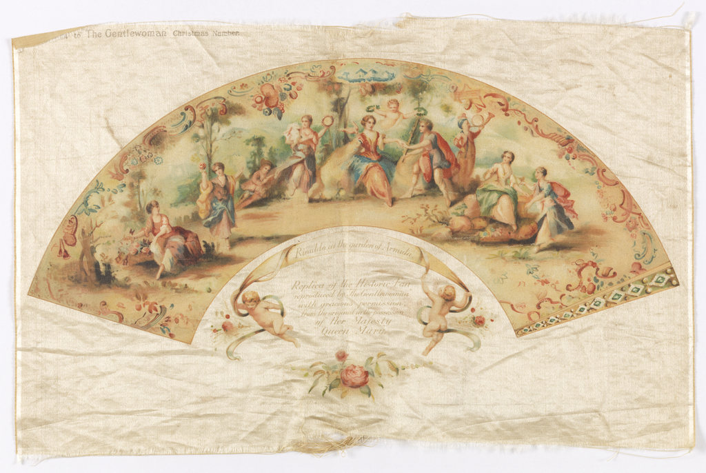 Unmounted fan leaf. Chromolithography on satin showing figures cavorting in a garden