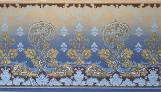 Scrolling acanthus assuming the shape of paisley. These motifs are joined by a foliated ribbon. Printed on a background that shades from tan at top to dark blue at bottom.