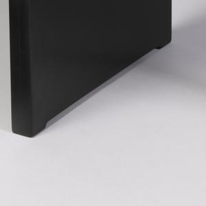 Undulating black triangular seat; blue tubular metal leg with three shaped projections at apex, vertical black panel as leg at rear.