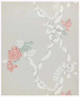 Two major motifs, pink roses with green leaves spaced at wide intervals and in random arrangement. The rose motifs are connected by twisted white ribbons and rococo scroll and lattice work. Printed on pale blue ground.