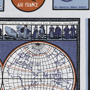 """Steamship and airline labels in red, white, blue and black on light blue ground. A """"New Accurat [sic] Map of the World"""" showing the two hemispheres as drawn in 1670. Printed in selvedge: """"An Exclusive Schumacher Hand Print, 'Bon Voyage'""""."""