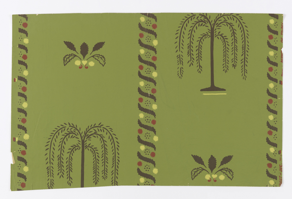 "Vertical elements composed of brown S-curves alternating with circular patterns of red, brown, and yellow border brown, stylized weeping willows and brown leaf clusters with hearts, commas, and circles at bases. Willows and leaves form diagonal patterns on a green ground. Inspired by 19th century furnerary designs. On margin: ""Thibaut, Inc. Designs of Today""."