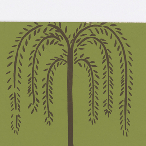 """Vertical elements composed of brown S-curves alternating with circular patterns of red, brown, and yellow border brown, stylized weeping willows and brown leaf clusters with hearts, commas, and circles at bases. Willows and leaves form diagonal patterns on a green ground. Inspired by 19th century furnerary designs. On margin: """"Thibaut, Inc. Designs of Today""""."""