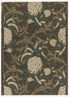 "Chintz-inspired design of pineapple clusters in light brown, green and white on chocolate brown, dotted ground. On margin: Union Made, Hobe Erwin Editions, Made in U.S.A., 813-3""."