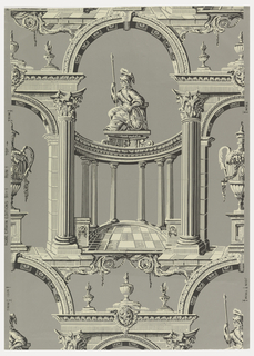Pillar and arch design printed in grisaille showing helmeted female figure, Britannia, holding spear and shield on top of a circular colonnade and framed by an arch supported by two small arches, decorated with incomplete Corinthian orders. The two smaller arches frame urns on pedestals.