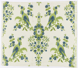 "From a central design of blue flowers and green foliage radiate two floral branches, each with a blue and green parrot and a stylized pendant of blue flowers. Forming a diagonal pattern on white ground. On margin: ""Hand Printed by Piazza Prints, Inc., New York City, Parrot Bouquet."""