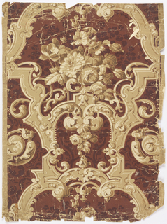 Shaded brown and beige scroll-work flowers, over maroon strapwork, flowers,on lighter maroon ground.