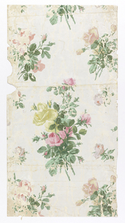 On white ground imitating moire silk, clusters of yellow and pink roses.
