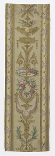 Vertical strip: on light brown ground, arabesques, symmetrical along central, vertical axis. Edge bandings of metallic gold: criss-crossing lavender ribbons, urns, scrollwork festoons with fringe, pink roses.