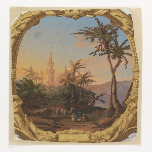 "Scene of domes, minarettes, palms, three robed figures and a camel, bathed in light of sunset, within vertically rectangular panel within which a brown and metallic gold frame outlines the scene enclosed in an oval. Frame includes title: ""Le Soir"". This is one medallion from the set of ""Les quatres heures du jour""."