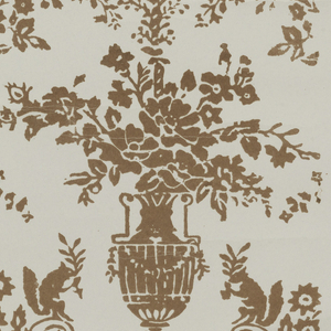 An arabesque framework with squirrels and satyrs, printed in brown on a gray ground.
