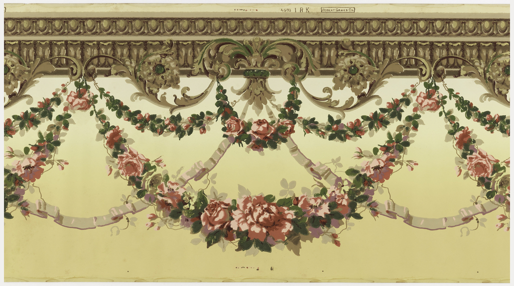 Large floral swag and ribbon suspended from architectural molding. Printed in red, green, brown, taupe and purple on a ground that shades from deep ocher at bottom to light yellow at top.
