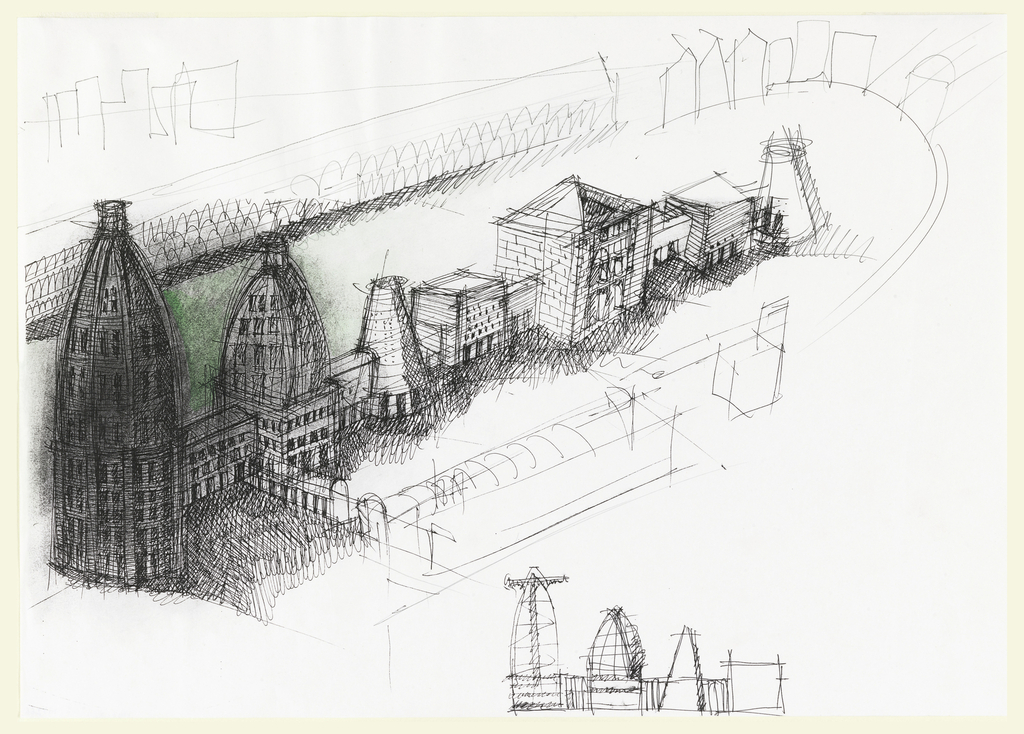 """Perspective study for large office complex consisting of seven interconnected main structures (domes, cones, cubes); bottom right: preliminary section for one half of office complex drawn above Study related to """"Study for overall Complex with additional studies of towers"""" 1993-24-1 See related drawing: 1993-32-2"""