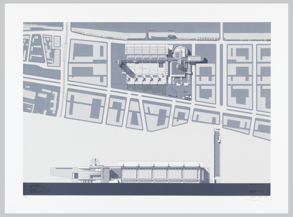 In upper portion, site plan of project and adjacent blocks.  Below, elevation of library complex as seen from the northeast, with vertical office tower at the right, six-story stacks in the center and entrance, rounded main reading room, restaurant, exhibition space at the left.
