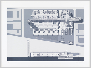 Large view of Library site plan above at the level of the main hall, with partial plan of blocks on either side.  Southwestern elevation below showing adminstrative tower at the left, central stacks in the middle and reading room, exhibition, restaurant, entry lobby complex at the right.