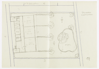 Plan view of garden and building.