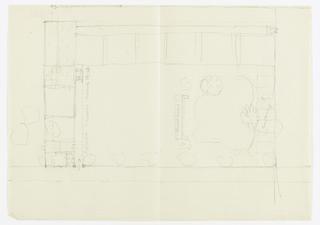 Floor plan of building and garden.