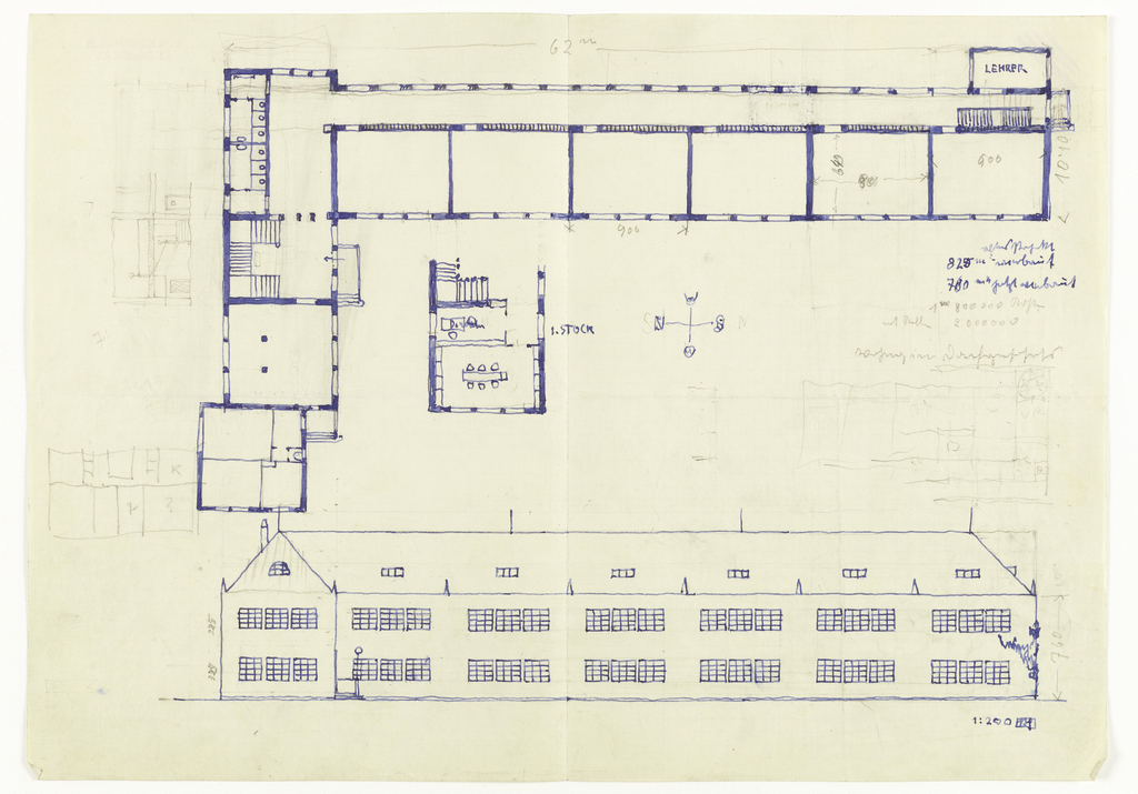 Floor plan and elevation of building.