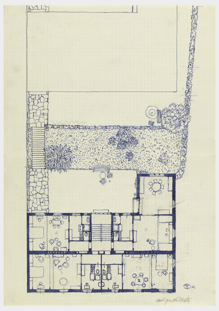 Floor plan and garden.