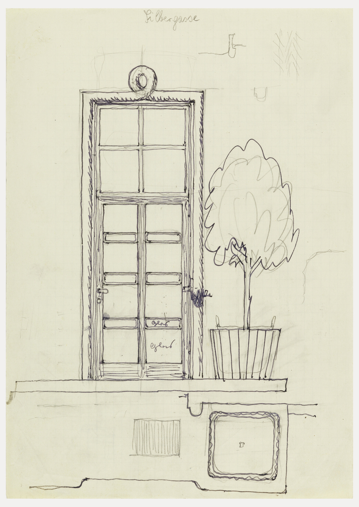 Doorway with potted plant.
