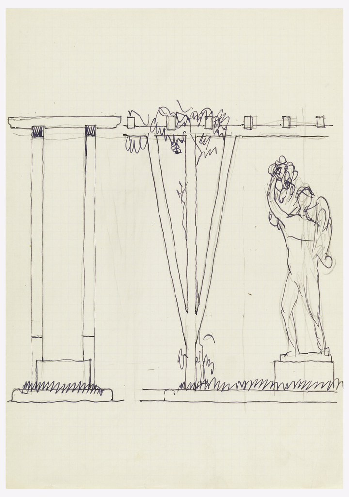 Design for garden trellis with figural sculpture.