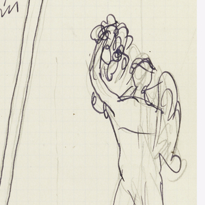 Design for garden trellis with figural sculpture.