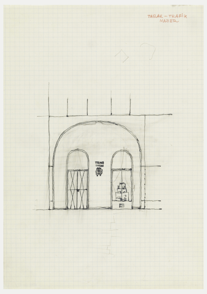 Facade elevation with door and window.