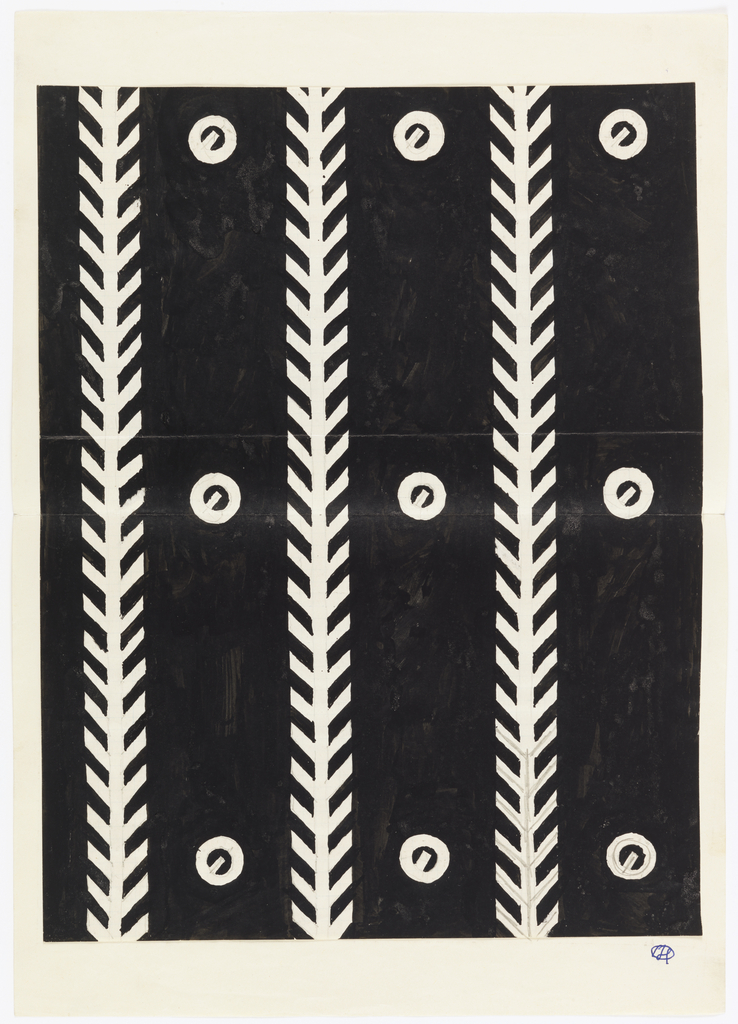 Vertical stripes of black bands containing circles with lines through them; the bands are separated by stylized vines.