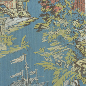 Chasuble fragments. Blue satin ground with polychrome brocading in a design of buildings at edge of water and great ship. Trimmed with coral and yellow silk ribbon.