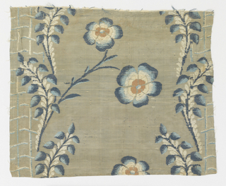Fragments of woven brocade showing flower stalks on lattice in navy, pale blue and cream.