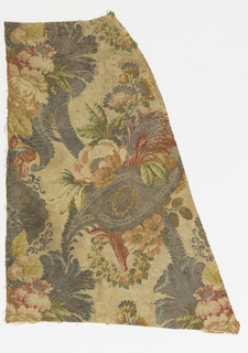 Two fragments of woven fabric showing a continuous vertical floral pattern in polychrome with metallic yarns on a cream ground.