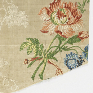 Silk textile with brocaded pattern showing a cream-colored meandering grapevines, and polychrome bouquets of flowers and grapes that form lines which follow the curves of the grapevines.