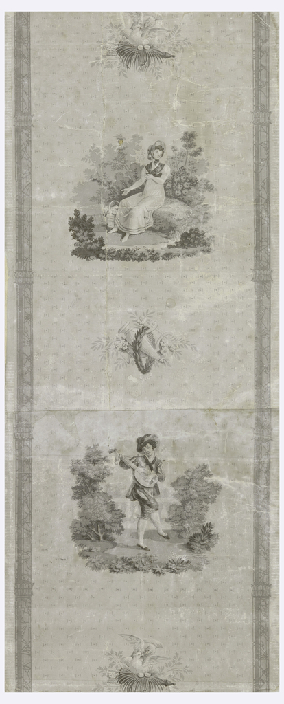 Vertical rectangle printed on joined sheets of paper. Gray field, with repeating dot-and-stroke motif in darker gray, and marbleized gray pilasters at either side. In the center, repeating vertically, are pictorial motifs: dove in a nest, seated woman with flower basket, musical instruments, man with a lute, and again the doves in a nest.