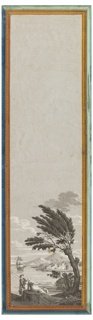 """One of series: """"Les Portiques d'Athenes Bay, with volcanic mountain in background, ship and island with houses in middle distance, and woman and fisherman on shore in foreground, with tree. Printed in grisaille, with architectural border in yellow and blue."""