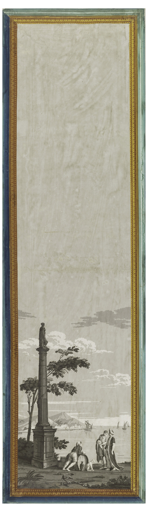 """One of series: """"Les Portiques d'Athenes Bay"""" with volcanic mountain in background. On shore in foreground three figures and a column supporting statue of a woman. Architectural border in yellow and blue."""
