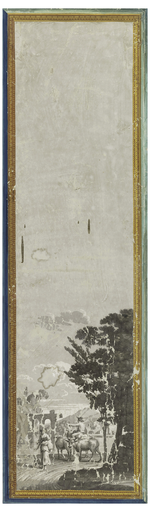 One of series, Les Portiques d'Athénes. Mountains and building in background: ruined aqueduct in middle distance; in foreground, woman with dog, and man riding a donkey with two oxen. Architectural border in yellow and blue.