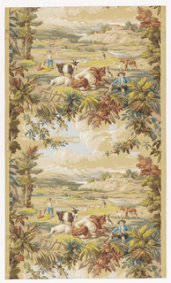 A pastoral scene enframed by leaves and vines is the single repeating motif. Drop match at the sides. Farm animals cows and goat herd, shepherd, and man with scythe in foreground. Village on promontory in background. Printed in 19 colors on neutral ground.