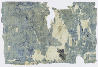 On blue ground, vertical panels marked off by vertical stripes/borders at edges of paper width. Within the panels alternating large motif (a castle) and small motif (an urn) in deeper shades of blue and in white. Background fill of trefoil motifs.