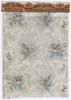 Floral sprigs in brown and blue interspersed with white acanthus scrolls. Printed on light gray ground. Border along top edge. Scrolling border printed in orange, rust-color and tan. Band of dentils along bottom edge of border.