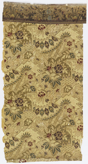 Anglo-Japanesque design, containing floral and fan motifs. Printed in burgundy, green, pale yellow and metallic gold on tan ground. Floral and foliate border along top edge.