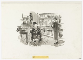 Interior of a bookstore. The window of the store is seen to the left; shelves of books from center to right. A woman is seated in an armchair, in foreground, holding a book, speaking to another woman, standing at right.