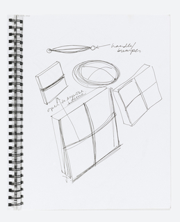Spiral bound with matte black covers; 17 leaves.  Sketchbook contains sketches for SONY, bowls for Target/Umbra;  plastic tumblers, cheese grater for Greta, salt and pepper sets, etc.