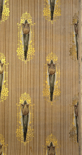 Repeating motif of tulip on long stem with leaves. Tulip is surrounded by framework of gold tracery. Printed on a striped tan ground.